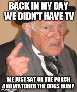Back In My Day Meme | BACK IN MY DAY WE DIDN'T HAVE TV WE JUST SAT ON THE PORCH AND WATCHED THE DOGS HUMP. | image tagged in memes,back in my day | made w/ Imgflip meme maker
