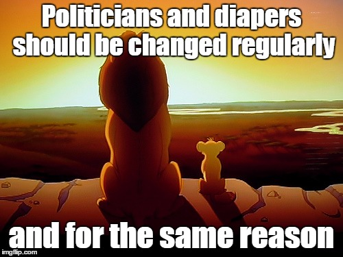 Lion King Meme | Politicians and diapers should be changed regularly and for the same reason | image tagged in memes,lion king | made w/ Imgflip meme maker