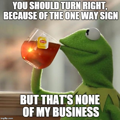 But Thats None Of My Business Meme | YOU SHOULD TURN RIGHT, BECAUSE OF THE ONE WAY SIGN BUT THAT'S NONE OF MY BUSINESS | image tagged in memes,but thats none of my business,kermit the frog | made w/ Imgflip meme maker
