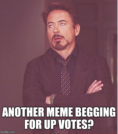 Face You Make Robert Downey Jr Meme | ANOTHER MEME BEGGING FOR UP VOTES? | image tagged in memes,face you make robert downey jr | made w/ Imgflip meme maker
