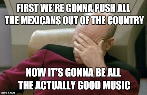 Captain Picard Facepalm Meme | FIRST WE'RE GONNA PUSH ALL THE MEXICANS OUT OF THE COUNTRY NOW IT'S GONNA BE ALL THE ACTUALLY GOOD MUSIC | image tagged in memes,captain picard facepalm | made w/ Imgflip meme maker