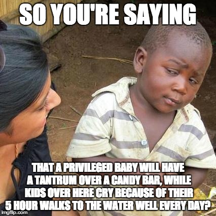 Third World Skeptical Kid Meme | SO YOU'RE SAYING THAT A PRIVILEGED BABY WILL HAVE A TANTRUM OVER A CANDY BAR, WHILE KIDS OVER HERE CRY BECAUSE OF THEIR 5 HOUR WALKS TO THE  | image tagged in memes,third world skeptical kid | made w/ Imgflip meme maker