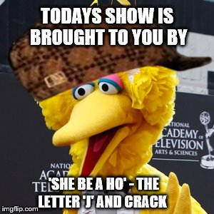 Bad Boy Big Bird | TODAYS SHOW IS BROUGHT TO YOU BY 'SHE BE A HO' - THE LETTER 'J' AND CRACK | image tagged in memes,big bird,scumbag,drugs,ho | made w/ Imgflip meme maker