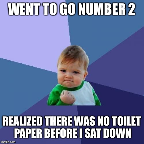 Success Kid Meme | WENT TO GO NUMBER 2 REALIZED THERE WAS NO TOILET PAPER BEFORE I SAT DOWN | image tagged in memes,success kid,AdviceAnimals | made w/ Imgflip meme maker