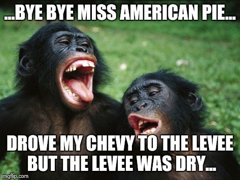 Last call on a saturday night. | ...BYE BYE MISS AMERICAN PIE... DROVE MY CHEVY TO THE LEVEE BUT THE LEVEE WAS DRY... | image tagged in memes,bonobo lyfe | made w/ Imgflip meme maker