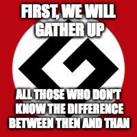 Grammar Nazi | FIRST, WE WILL GATHER UP ALL THOSE WHO DON'T KNOW THE DIFFERENCE BETWEEN THEN AND THAN | image tagged in grammar nazi | made w/ Imgflip meme maker