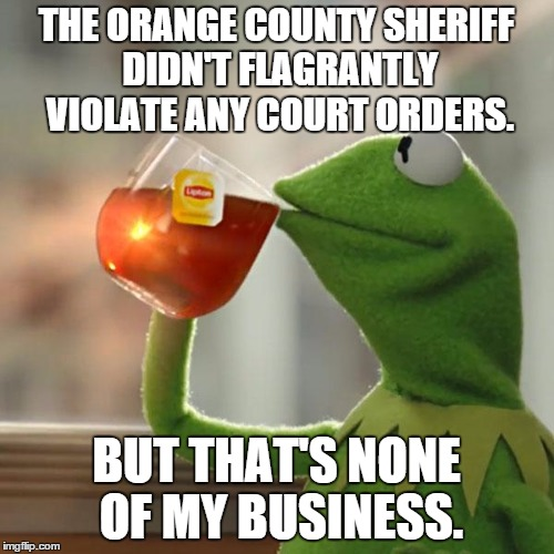 But Thats None Of My Business Meme | THE ORANGE COUNTY SHERIFF DIDN'T FLAGRANTLY VIOLATE ANY COURT ORDERS. BUT THAT'S NONE OF MY BUSINESS. | image tagged in memes,but thats none of my business,kermit the frog | made w/ Imgflip meme maker