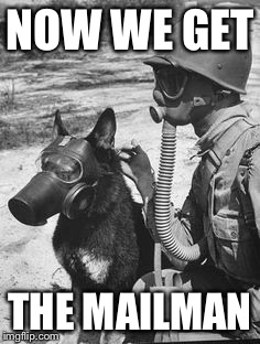 Chemical warfare | NOW WE GET THE MAILMAN | image tagged in chemical warfare | made w/ Imgflip meme maker