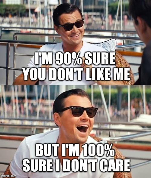 Leonardo Dicaprio Wolf Of Wall Street Meme | I'M 90% SURE YOU DON'T LIKE ME BUT I'M 100% SURE I DON'T CARE | image tagged in memes,leonardo dicaprio wolf of wall street | made w/ Imgflip meme maker