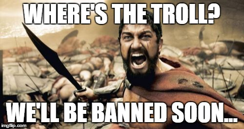 Sparta Leonidas Meme | WHERE'S THE TROLL? WE'LL BE BANNED SOON... | image tagged in memes,sparta leonidas | made w/ Imgflip meme maker