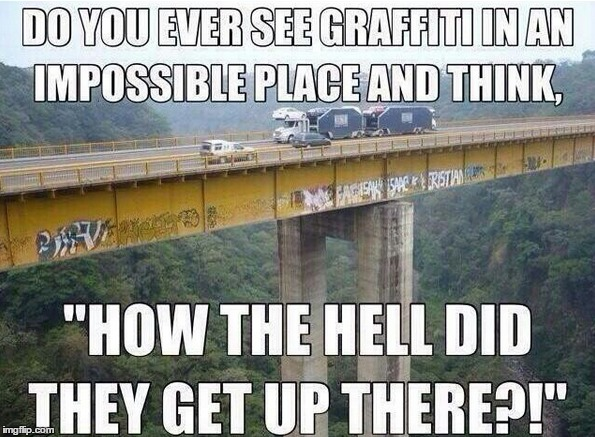 Impossible... | image tagged in funny memes,memes,graffitti,how i feel,clueless | made w/ Imgflip meme maker