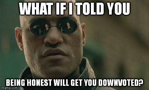 I'm talking about the internet. | WHAT IF I TOLD YOU BEING HONEST WILL GET YOU DOWNVOTED? | image tagged in memes,matrix morpheus | made w/ Imgflip meme maker