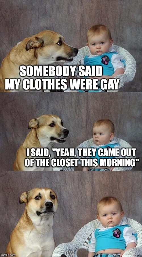 "Dad Joke Dog Meme | SOMEBODY SAID MY CLOTHES WERE GAY I SAID, ""YEAH, THEY CAME OUT OF THE CLOSET THIS MORNING"" 