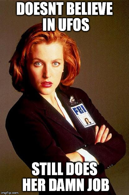 Scully | DOESNT BELIEVE IN UFOS STILL DOES HER DAMN JOB | image tagged in scully | made w/ Imgflip meme maker