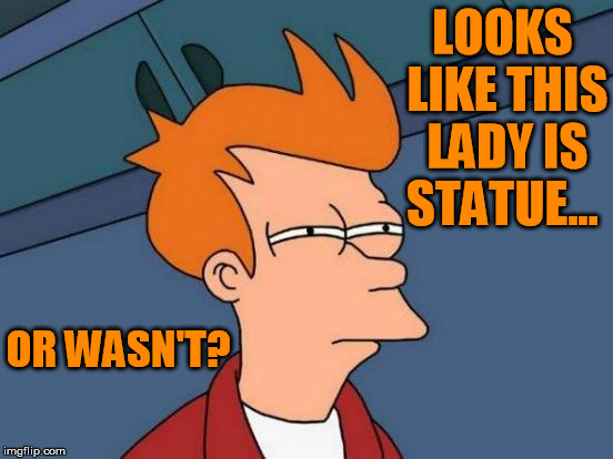 Futurama Fry Meme | LOOKS LIKE THIS LADY IS STATUE... OR WASN'T? | image tagged in memes,futurama fry | made w/ Imgflip meme maker