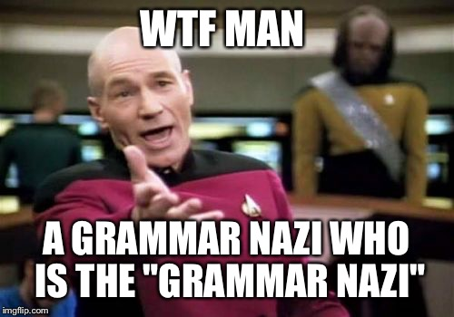 "Picard Wtf Meme | WTF MAN A GRAMMAR NAZI WHO IS THE ""GRAMMAR NAZI"" 