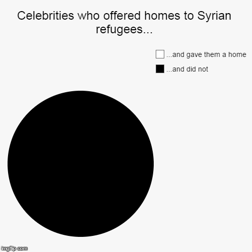 Celebrities who offered homes to Syrian refugees... | ...and did not, ...and gave them a home | image tagged in funny,pie charts | made w/ Imgflip pie chart maker