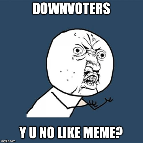 Y U No Meme | DOWNVOTERS Y U NO LIKE MEME? | image tagged in memes,y u no | made w/ Imgflip meme maker