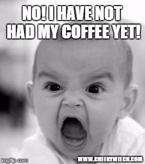 Angry Baby Meme | NO! I HAVE NOT HAD MY COFFEE YET! WWW.CHEEKYWITCH.COM | image tagged in memes,angry baby | made w/ Imgflip meme maker