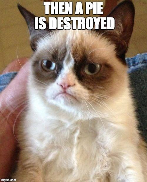 Grumpy Cat Meme | THEN A PIE IS DESTROYED | image tagged in memes,grumpy cat | made w/ Imgflip meme maker