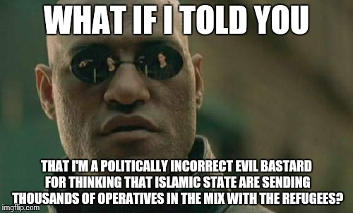 Matrix Morpheus Meme | WHAT IF I TOLD YOU THAT I'M A POLITICALLY INCORRECT EVIL BASTARD FOR THINKING THAT ISLAMIC STATE ARE SENDING THOUSANDS OF OPERATIVES IN THE  | image tagged in memes,matrix morpheus | made w/ Imgflip meme maker