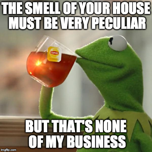But Thats None Of My Business Meme | THE SMELL OF YOUR HOUSE MUST BE VERY PECULIAR BUT THAT'S NONE OF MY BUSINESS | image tagged in memes,but thats none of my business,kermit the frog | made w/ Imgflip meme maker