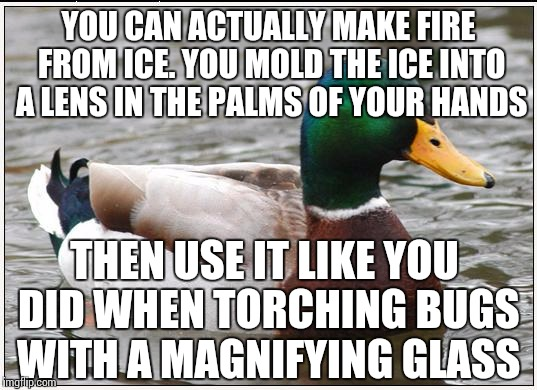 YOU CAN ACTUALLY MAKE FIRE FROM ICE. YOU MOLD THE ICE INTO A LENS IN THE PALMS OF YOUR HANDS THEN USE IT LIKE YOU DID WHEN TORCHING BUGS WIT | made w/ Imgflip meme maker