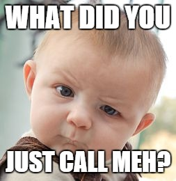 Skeptical Baby Meme | WHAT DID YOU JUST CALL MEH? | image tagged in memes,skeptical baby | made w/ Imgflip meme maker