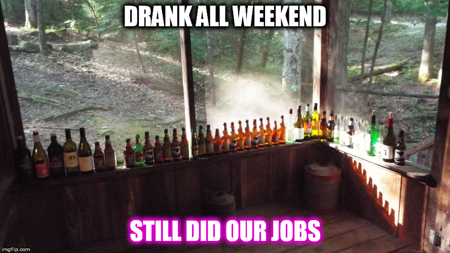 Still Did Our Jobs | DRANK ALL WEEKEND STILL DID OUR JOBS | image tagged in bottles,jobs,drinking,cabin,beer,wine | made w/ Imgflip meme maker