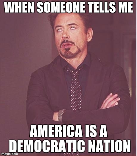 Face You Make Robert Downey Jr Meme | WHEN SOMEONE TELLS ME AMERICA IS A DEMOCRATIC NATION | image tagged in memes,face you make robert downey jr | made w/ Imgflip meme maker