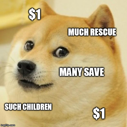 Doge Meme | $1 MUCH RESCUE MANY SAVE SUCH CHILDREN $1 | image tagged in memes,doge | made w/ Imgflip meme maker