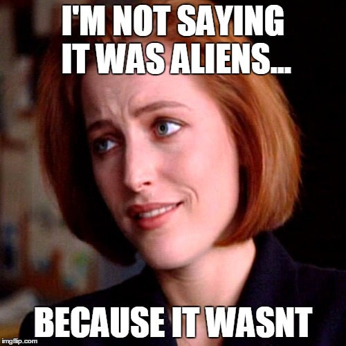 I'M NOT SAYING IT WAS ALIENS... BECAUSE IT WASNT | I'M NOT SAYING IT WAS ALIENS... BECAUSE IT WASNT | image tagged in aliens,ancient aliens,x-files,scully,tv show | made w/ Imgflip meme maker