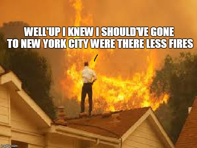 WELL'UP I KNEW I SHOULD'VE GONE TO NEW YORK CITY WERE THERE LESS FIRES | made w/ Imgflip meme maker