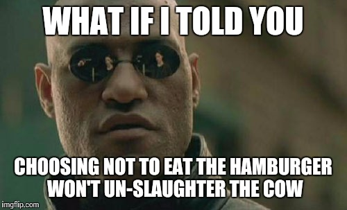 To all you vegans who think you're morally better than us | WHAT IF I TOLD YOU CHOOSING NOT TO EAT THE HAMBURGER WON'T UN-SLAUGHTER THE COW | image tagged in memes,matrix morpheus | made w/ Imgflip meme maker