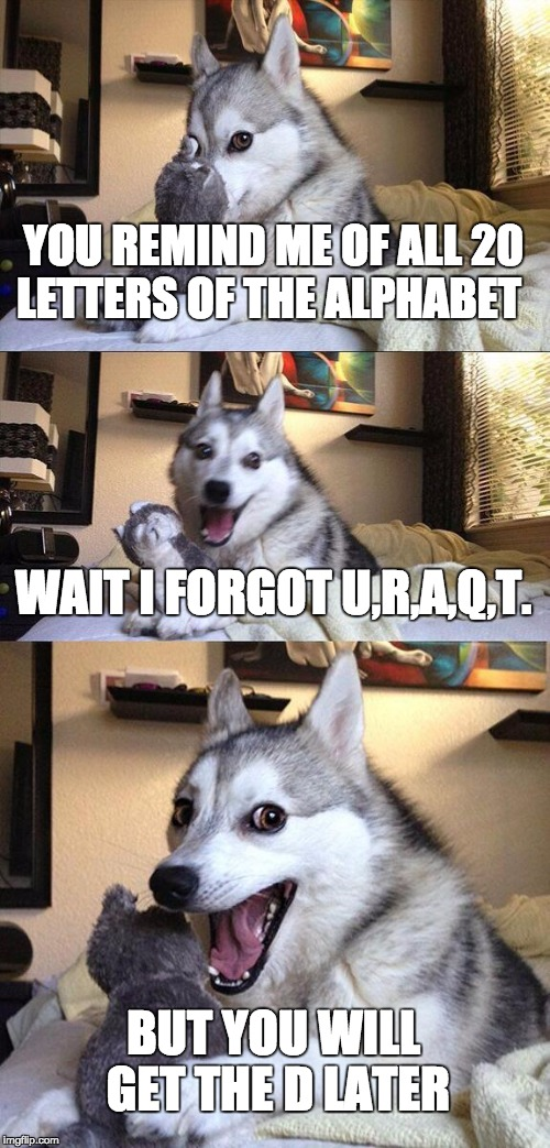 Bad Pun Dog Meme | YOU REMIND ME OF ALL 20 LETTERS OF THE ALPHABET WAIT I FORGOT U,R,A,Q,T. BUT YOU WILL GET THE D LATER | image tagged in memes,bad pun dog | made w/ Imgflip meme maker