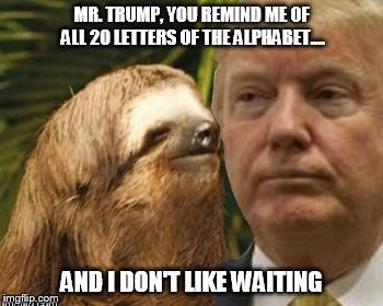 Political advice sloth | MR. TRUMP, YOU REMIND ME OF ALL 20 LETTERS OF THE ALPHABET.... AND I DON'T LIKE WAITING | image tagged in political advice sloth | made w/ Imgflip meme maker