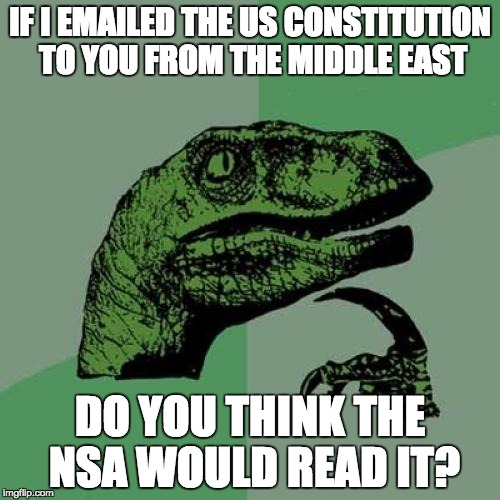 Philosoraptor Meme | IF I EMAILED THE US CONSTITUTION TO YOU FROM THE MIDDLE EAST DO YOU THINK THE NSA WOULD READ IT? | image tagged in memes,philosoraptor | made w/ Imgflip meme maker
