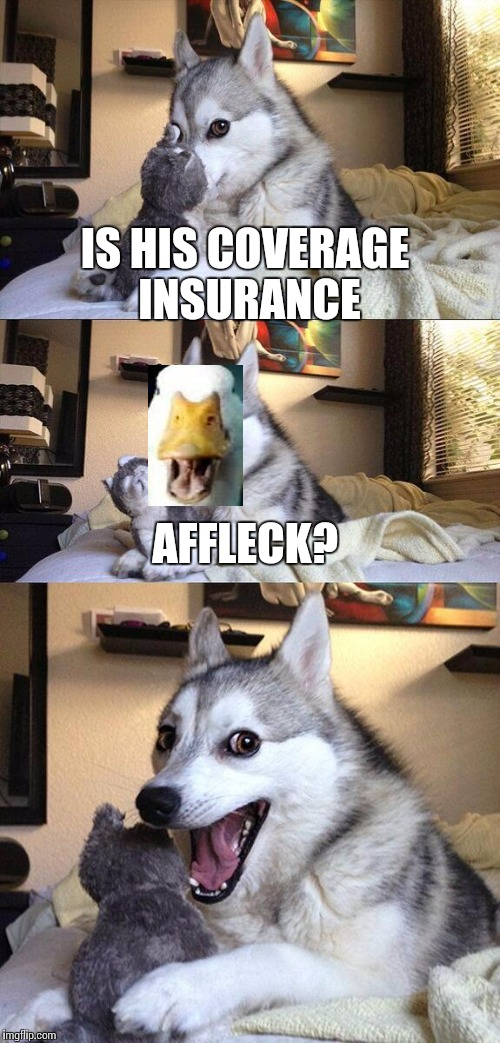 Bad Pun Dog Meme | IS HIS COVERAGE INSURANCE AFFLECK? | image tagged in memes,bad pun dog | made w/ Imgflip meme maker