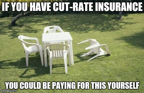 We Will Rebuild | IF YOU HAVE CUT-RATE INSURANCE YOU COULD BE PAYING FOR THIS YOURSELF | image tagged in memes,we will rebuild | made w/ Imgflip meme maker