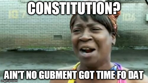 Aint Nobody Got Time For That Meme | CONSTITUTION? AIN'T NO GUBMENT GOT TIME FO DAT | image tagged in memes,aint nobody got time for that | made w/ Imgflip meme maker