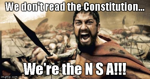 Sparta Leonidas Meme | We don't read the Constitution... We're the N S A!!! | image tagged in memes,sparta leonidas | made w/ Imgflip meme maker