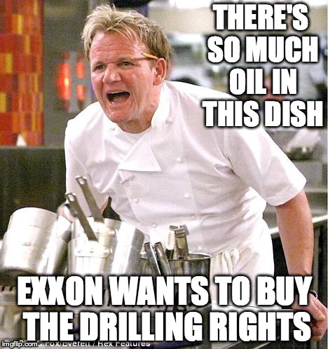 Chef Gordon Ramsay Meme | THERE'S SO MUCH OIL IN THIS DISH EXXON WANTS TO BUY THE DRILLING RIGHTS | image tagged in memes,chef gordon ramsay | made w/ Imgflip meme maker