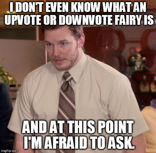 I DON'T EVEN KNOW WHAT AN UPVOTE OR DOWNVOTE FAIRY IS AND AT THIS POINT I'M AFRAID TO ASK. | made w/ Imgflip meme maker