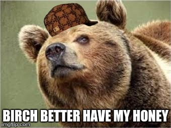 Smug Bear | BIRCH BETTER HAVE MY HONEY | image tagged in memes,smug bear,scumbag | made w/ Imgflip meme maker
