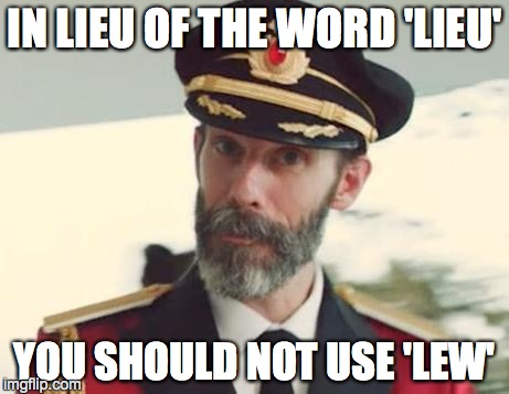 Obvious | IN LIEU OF THE WORD 'LIEU' YOU SHOULD NOT USE 'LEW' | image tagged in obvious | made w/ Imgflip meme maker