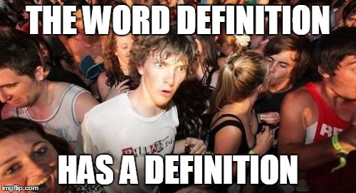 Sudden Clarity Clarence Meme | THE WORD DEFINITION HAS A DEFINITION | image tagged in memes,sudden clarity clarence | made w/ Imgflip meme maker