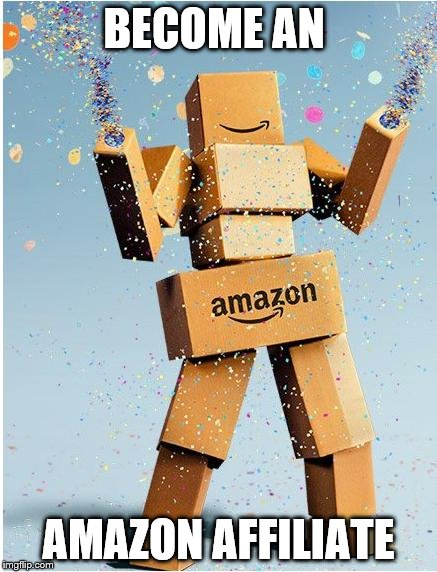 amazon box man | BECOME AN AMAZON AFFILIATE | image tagged in amazon box man | made w/ Imgflip meme maker