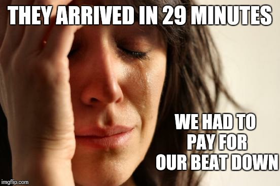 First World Problems Meme | THEY ARRIVED IN 29 MINUTES WE HAD TO PAY FOR OUR BEAT DOWN | image tagged in memes,first world problems | made w/ Imgflip meme maker