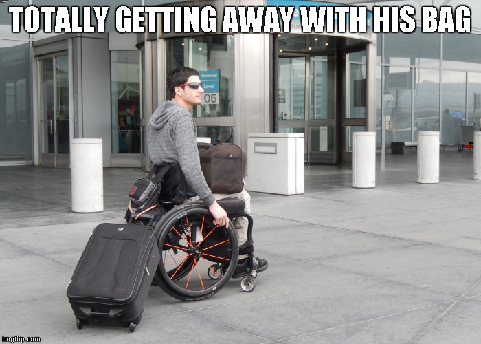 TOTALLY GETTING AWAY WITH HIS BAG | image tagged in wheelchair thief | made w/ Imgflip meme maker