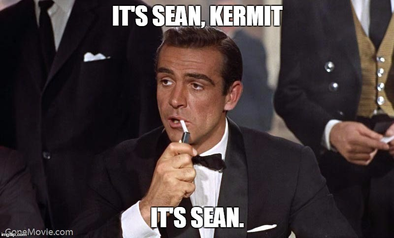 Sean Connery | IT'S SEAN, KERMIT IT'S SEAN. | image tagged in sean connery | made w/ Imgflip meme maker
